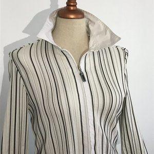 Joseph Ribkoff - Strip White Zipped Cardigan / Top